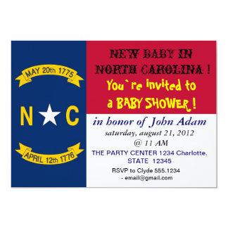 Baby Shower Invitation with Flag of North Carolina