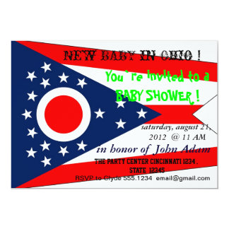 Baby Shower Invitation with Flag of Ohio