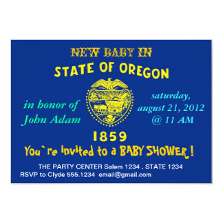 Baby Shower Invitation with Flag of Oregon
