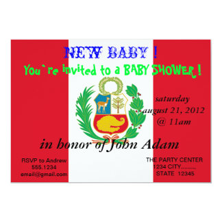 Baby Shower Invitation with Flag of Peru