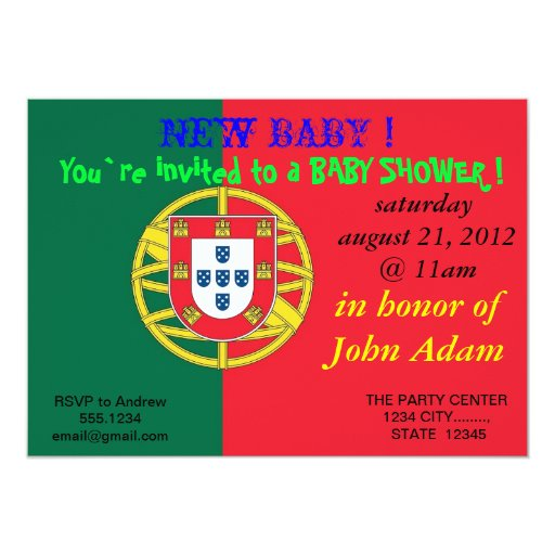Baby Shower Invitation with Flag of Portugal