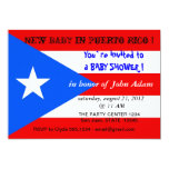 """Baby Shower Invitation with Flag of Puerto Rico 5"""" X 7"""" Invitation Card"""