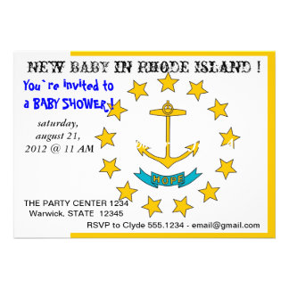 Baby Shower Invitation with Flag of Rhode Island