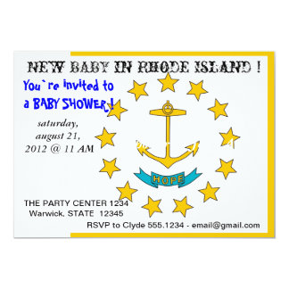 "Baby Shower Invitation with Flag of Rhode Island 5"" X 7"" Invitation Card"