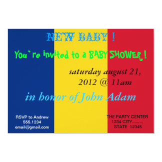 Baby Shower Invitation with Flag of Romania