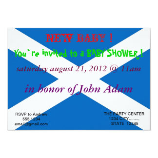 Baby Shower Invitation with Flag of Scotland