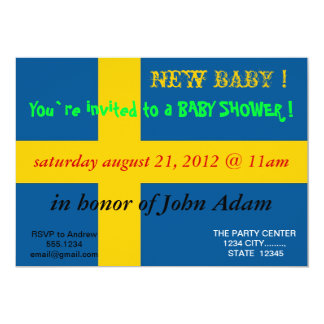 Baby Shower Invitation with Flag of Sweden