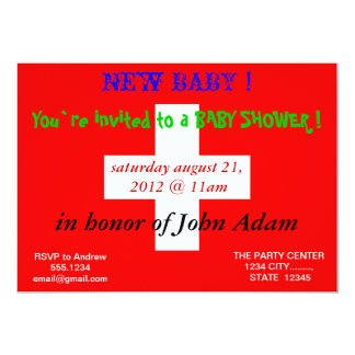 Baby Shower Invitation with Flag of Switzerland