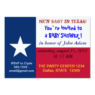 Baby Shower Invitation with Flag of Texas