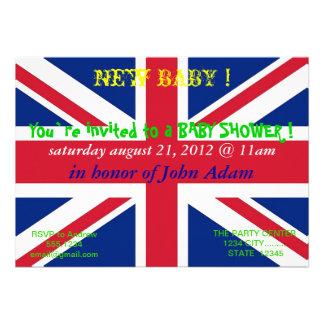Baby Shower Invitation with Flag of United Kingdom
