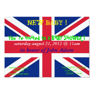 "Baby Shower Invitation with Flag of United Kingdom 5"" X 7"" Invitation Card"
