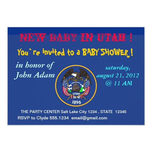 Baby Shower Invitation with Flag of Utah