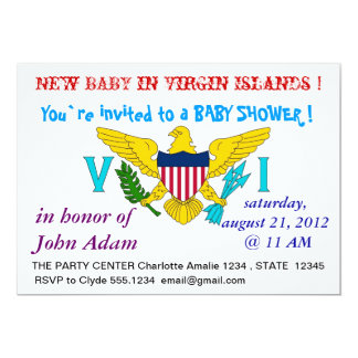 Baby Shower Invitation with Flag of Virgin Islands