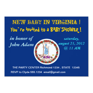Baby Shower Invitation with Flag of Virginia