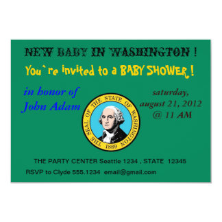 "Baby Shower Invitation with Flag of Washington 5"" X 7"" Invitation Card"