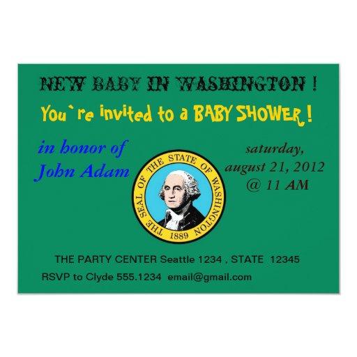 Baby Shower Invitation with Flag of Washington