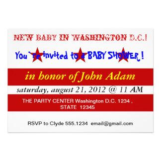 Baby Shower Invitation with Flag of Washington DC