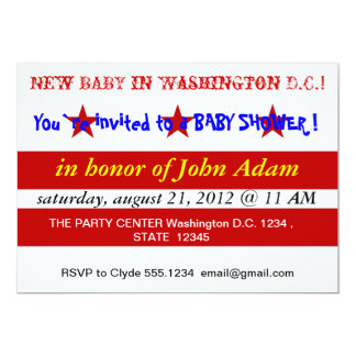 Baby Shower Invitation with Flag of Washington DC