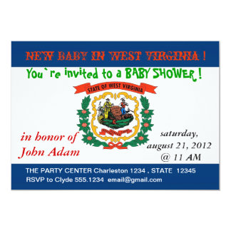 Baby Shower Invitation with Flag of West Virginia
