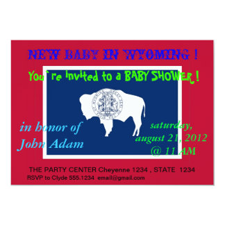 Baby Shower Invitation with Flag of Wyoming