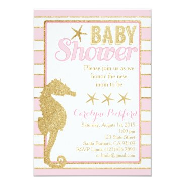 Beach Themed Baby Shower Invitation with Gold Seahorse