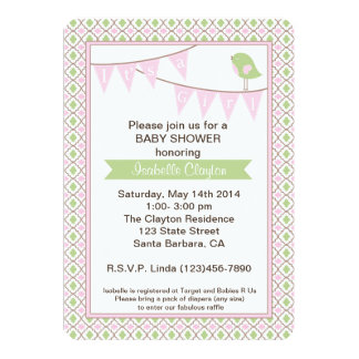 """Baby Shower Invitation with Pink Bunting Banner 5"""" X 7"""" Invitation Card"""