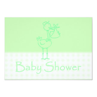 Baby Shower Invitation with stork delivering baby