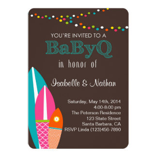 """Baby Shower Invitation With Surfboards- BabyQ Baby 5"""" X 7"""" Invitation Card"""