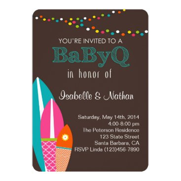 Toddler & Baby themed Baby Shower Invitation With Surfboards- BabyQ Baby