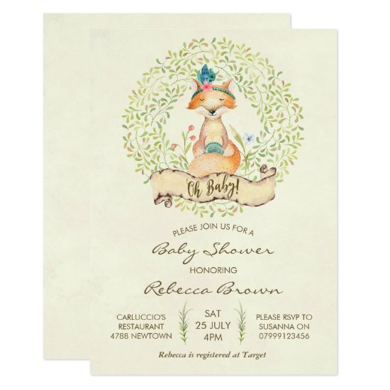 baby shower invitation woodland forest fox