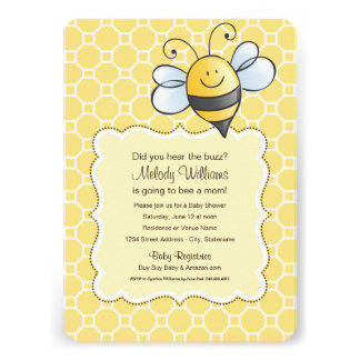Baby Shower Invitation | Yellow Bumblebee Personalized Announcement