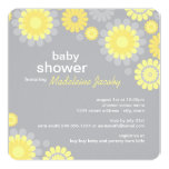 "Baby Shower Invitation | Yellow Gray Daisy Delight 5.25"" Square Invitation Card"