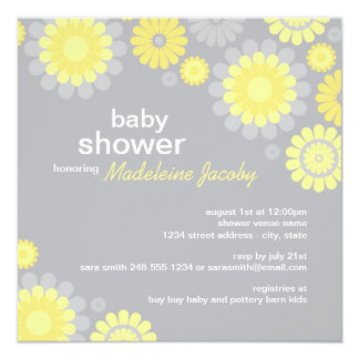 Baby Shower Invitation | Yellow Gray Daisy Delight