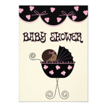 baby, shower, pink, black, new, born, girl, expecting, Invitation with custom graphic design