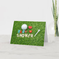 Baby Shower invitations for golfer with golf ball