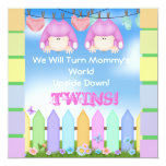 "BABY SHOWER Invitations GIRL TWINS! 5.25"" Square Invitation Card"
