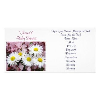 Baby Shower Invitations Pink Tree Blossoms Daisy Photo Card Template