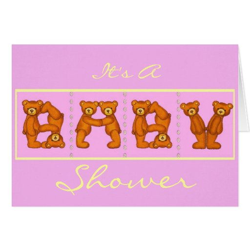 Baby Shower Invitations ~ Teddy Bear Alphabet~Pink Stationery Note Card