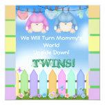 "BABY SHOWER Invitations UNISEX TWINS! 5.25"" Square Invitation Card"