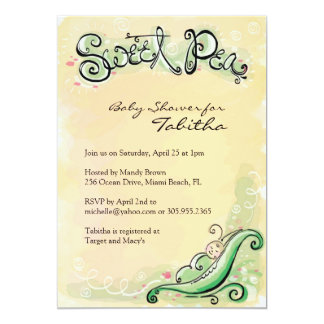 Baby Shower Invitations with Sweet Pea Baby