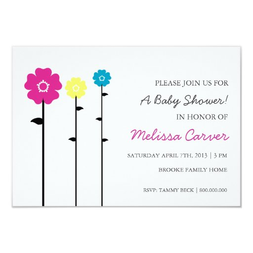 Baby Shower Invite | 3 Flowers |wh