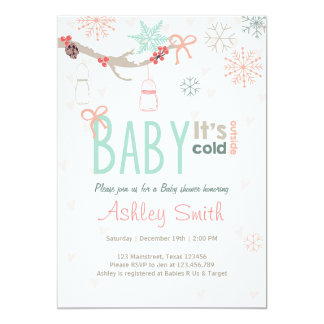 Baby Shower invite Baby cold outside mason jars