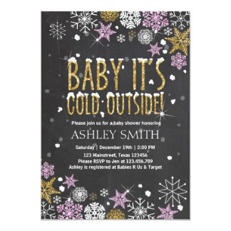 Baby Shower invite Baby cold outside Pink Gold