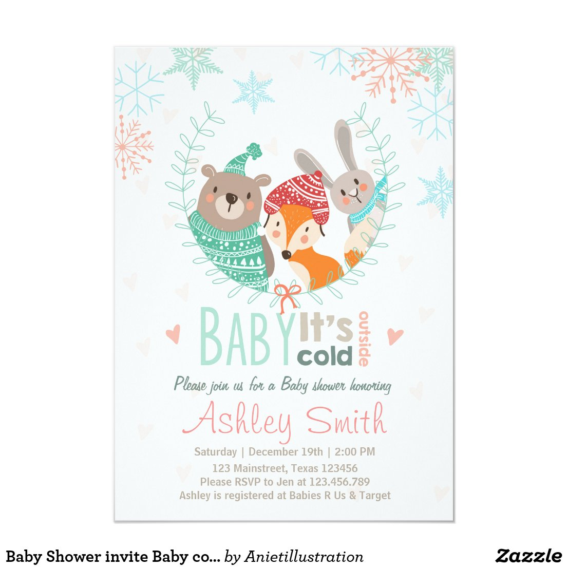 Baby Shower invite Baby cold Outside woodland