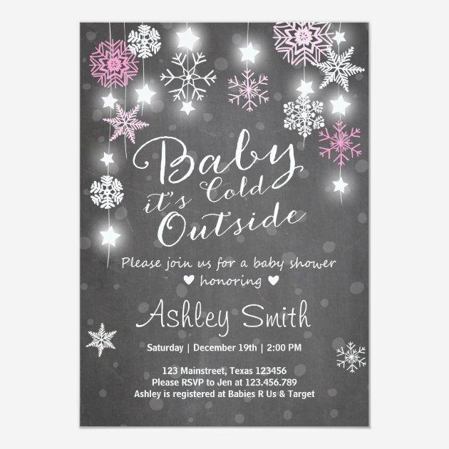 Custom snowflake baby shower invites templates babyfavors4u baby shower invite baby its cold outside girl filmwisefo
