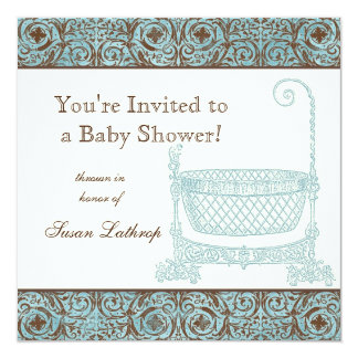 Baby Shower Invite - Blue Brown Damask Cradle