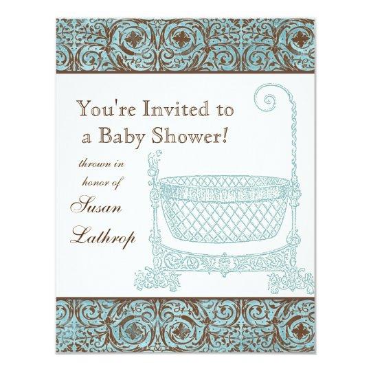 Baby Shower Invite - Blue Brown Damask Cradle