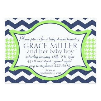 """Baby shower invite. blue chevron bright green 5"""" x 7"""" invitation card"""