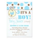Baby Shower Invite - Blue Diaper Pin & Polka Dots