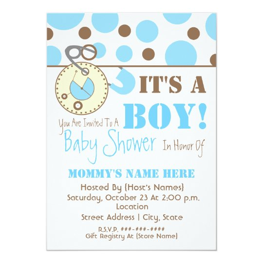 Baby Shower Invite - Blue Diaper Pin & Polka Dots